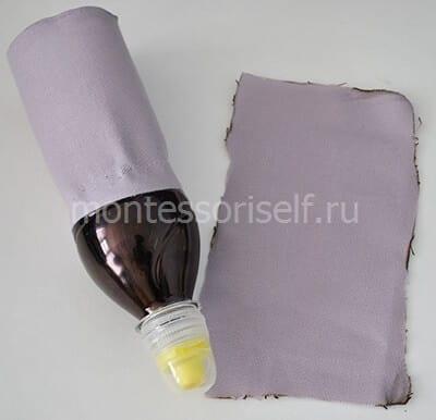 Фиксируем ткань на бутылке