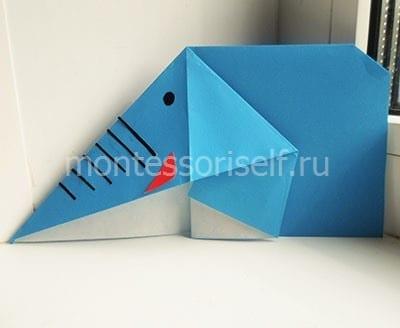 Слон оригами из бумаги
