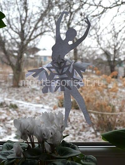 Зимнее украшение снежинка-балеринка