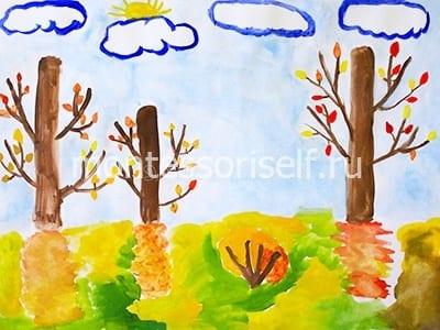 """Детский рисунок """"Осень с облаками"""""""