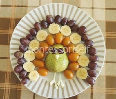 Павлин из овощей и фруктов своими руками