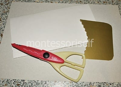 Вырезаем украшение конверта из картона