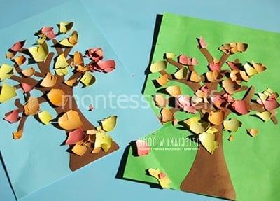 Осенняя аппликация из цветных скорлупок