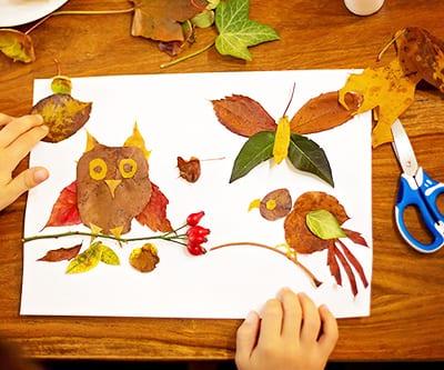 Осенние аппликации из листьев