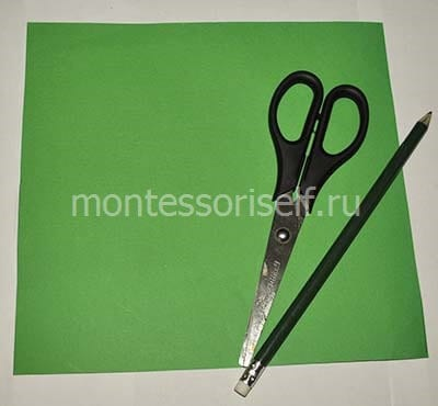 Sheet of paper, scissors, pencil
