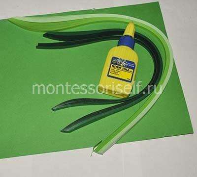 Полоски зеленой бумаги для поделки