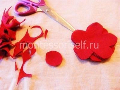 Пять цветочков и круглая основа