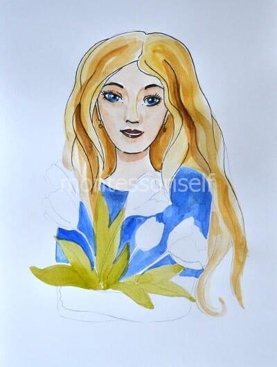 Раскрашиваем платье и листья