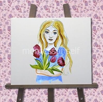 "Картина ""Мама с тюльпанами на 8 марта"""