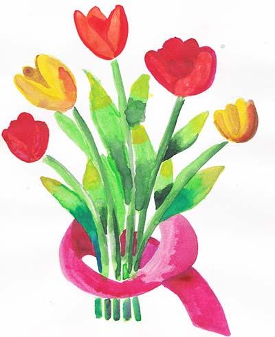 Букет тюльпанов с гуашью