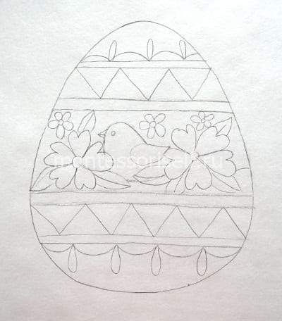 Пасхальное яичко карандашом