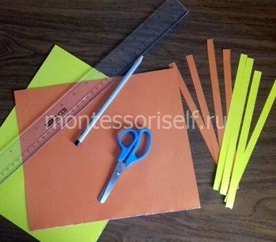 Разрезаем лист на полоски