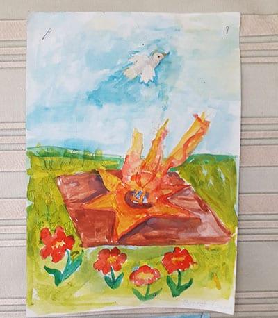 """Рисунок акварелью на 9 мая """"Вечный огонь и цветы"""""""