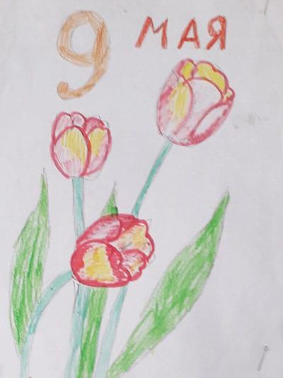 Рисунок на 9 мая с тюльпанами