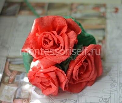 Роза из гофрированной бумаги