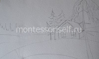 """Рисунок """"зима"""" карандашом"""