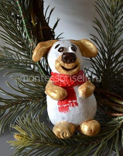 Собака из соленого теста фото на елочке