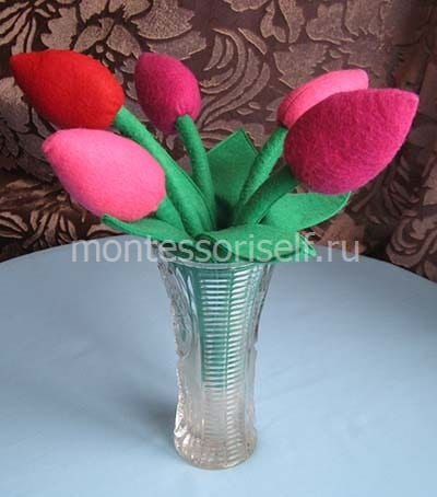 Букет тюльпанов из фетра