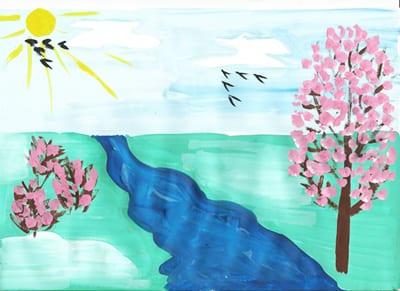 """Рисунок """"Солнце, ручей и розовые кусты"""""""