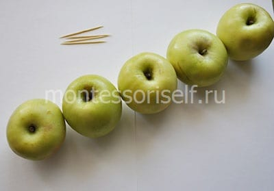 Toothpicks and apples