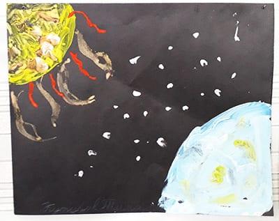 """Рисунок """"космос"""" на черной бумаге"""