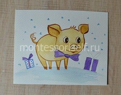 Рисунок свинка