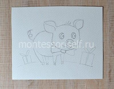 Рисунок свинка карандашом