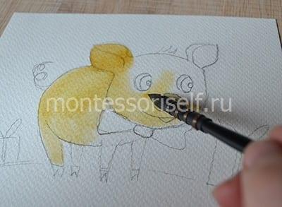 Раскрашиваем свинку в желтый цвет