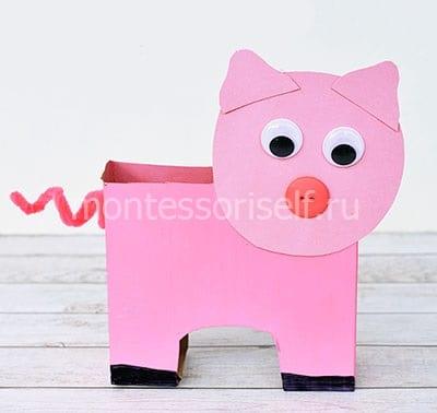 Свинка из коробки
