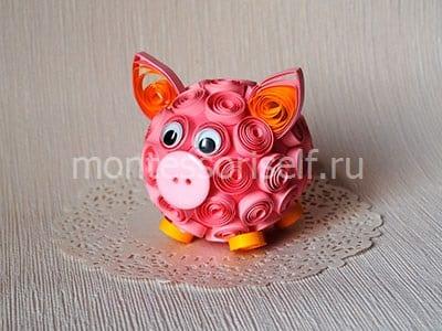 Квиллинг свинка - символ 2019 года