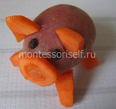Свинка из картошки и морковки