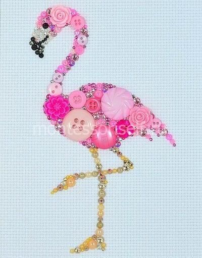 """Картина из пуговиц """"Фламинго"""""""
