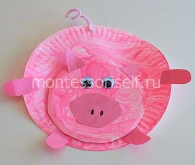 Свинка из бумаги и бумажный тарелок