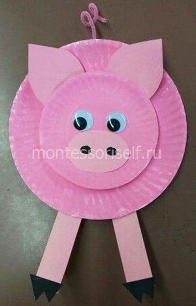 Свинка из бумажных тарелок с ножками