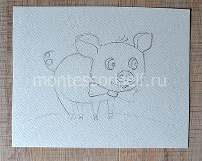 "Рисунок карандашом ""свинка"""