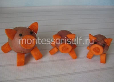 Свинки из картошки и морковки