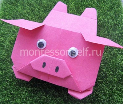 Оригами свинка (схема сборки)