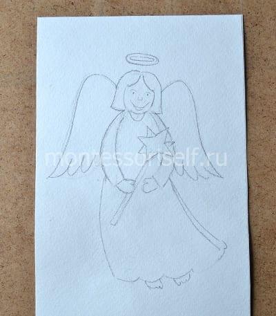 Ангел с крылышками рисунок карандашом