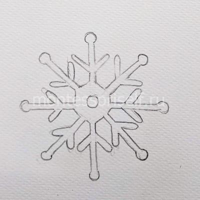 Карандашный набросок снежинки