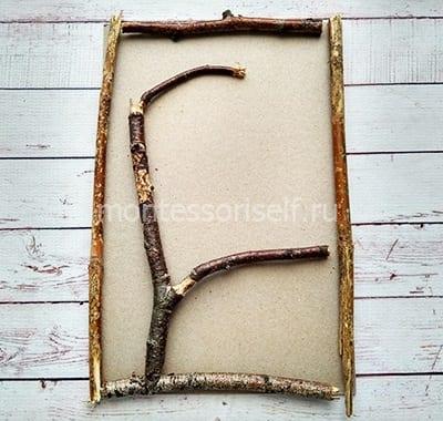 Рамка и дерево из веточек
