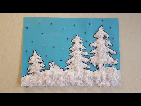 Зимний лес Аппликация из цветной бумаги и пряжи с шаблоном для скачивания
