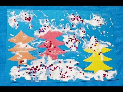 Зимний лес. Аппликации из цветной бумаги и пены для бритья. Новогодние поделки с детьми 2, 3, 4 лет.