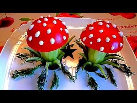 Мухоморы. Украшения из помидора и огурца. Украшения из овощей. Decoration of vegetables.