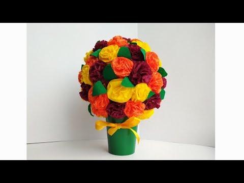Подарок на день рождения маме своими руками. Как сделать букет цветов из салфеток. Поделки.