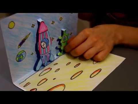 Как сделать 3D открытку из бумаги своими руками. Поделки с детьми на 12 апреля День Космонавтики