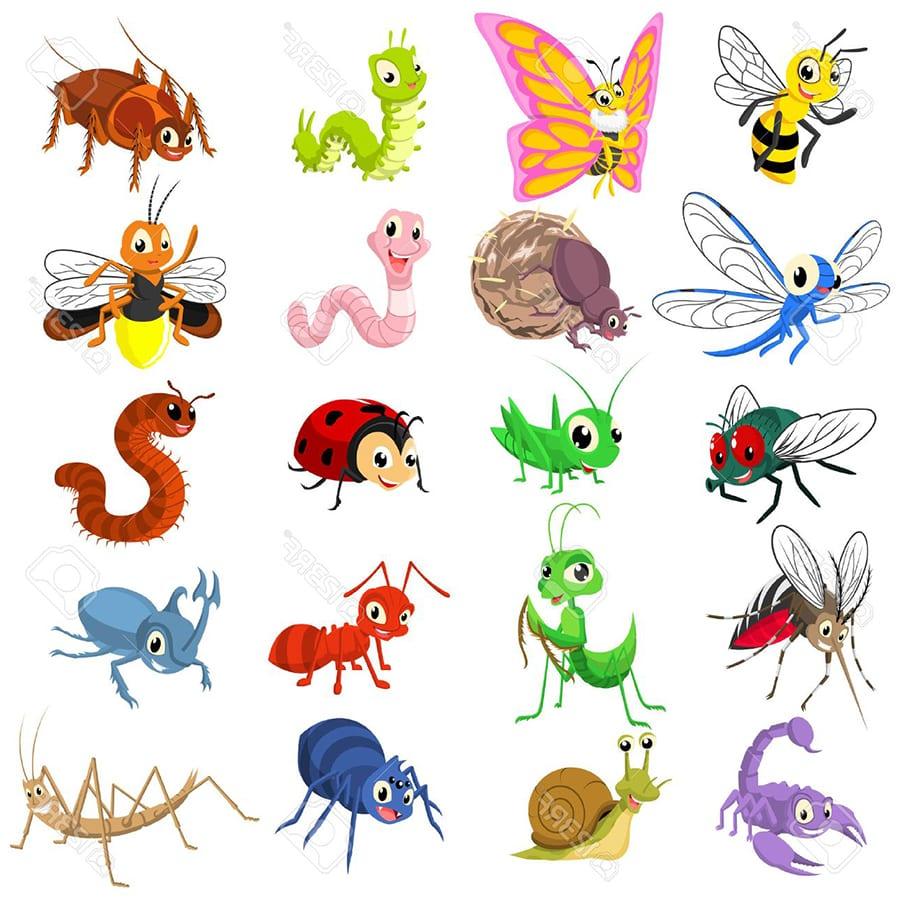 Забавные веселые насекомые для малышей