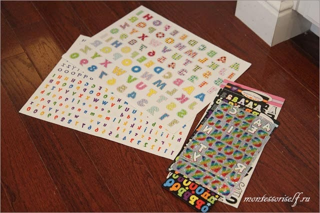 stickers with the letters