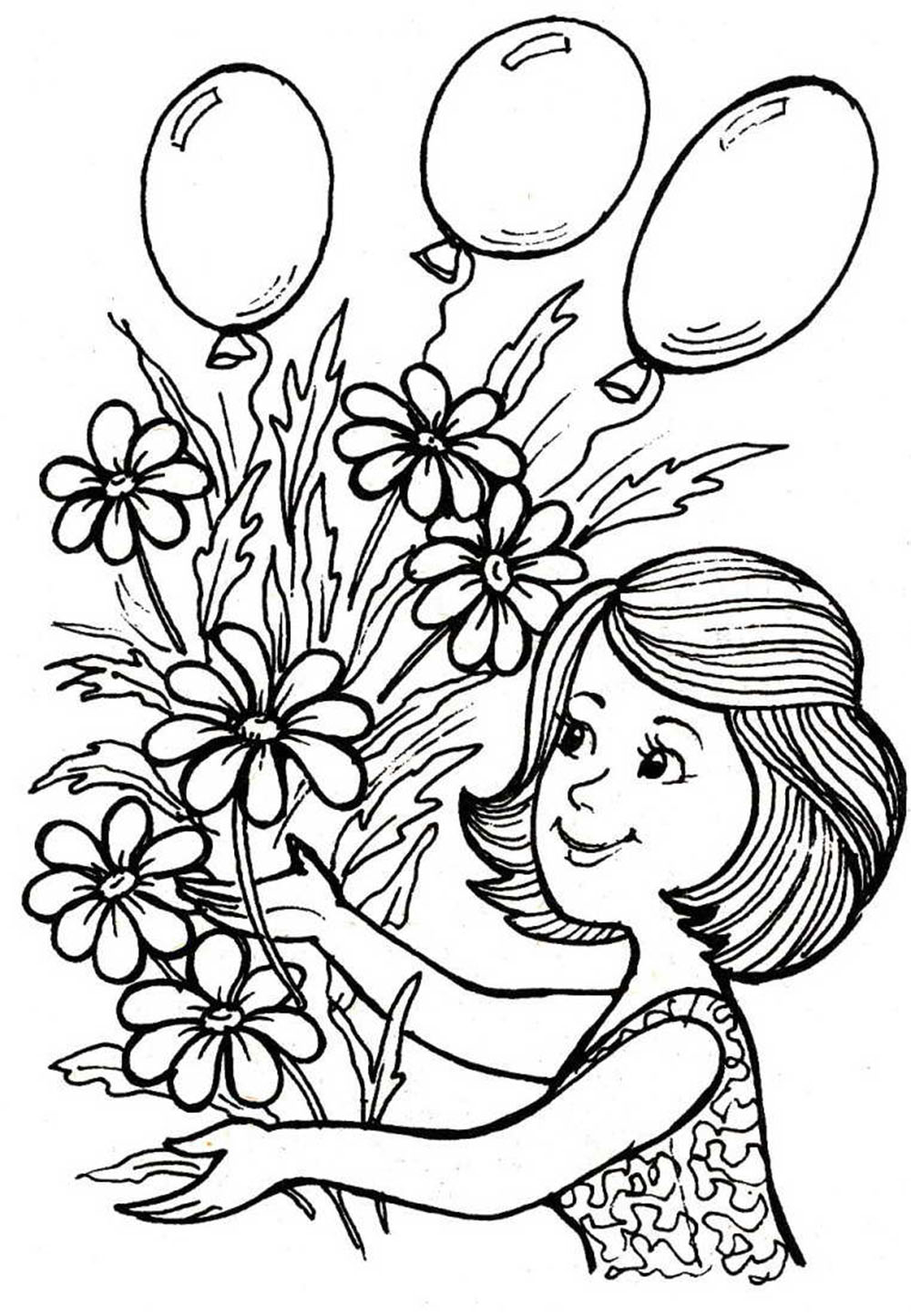 "Раскраска ""мама с цветами"""