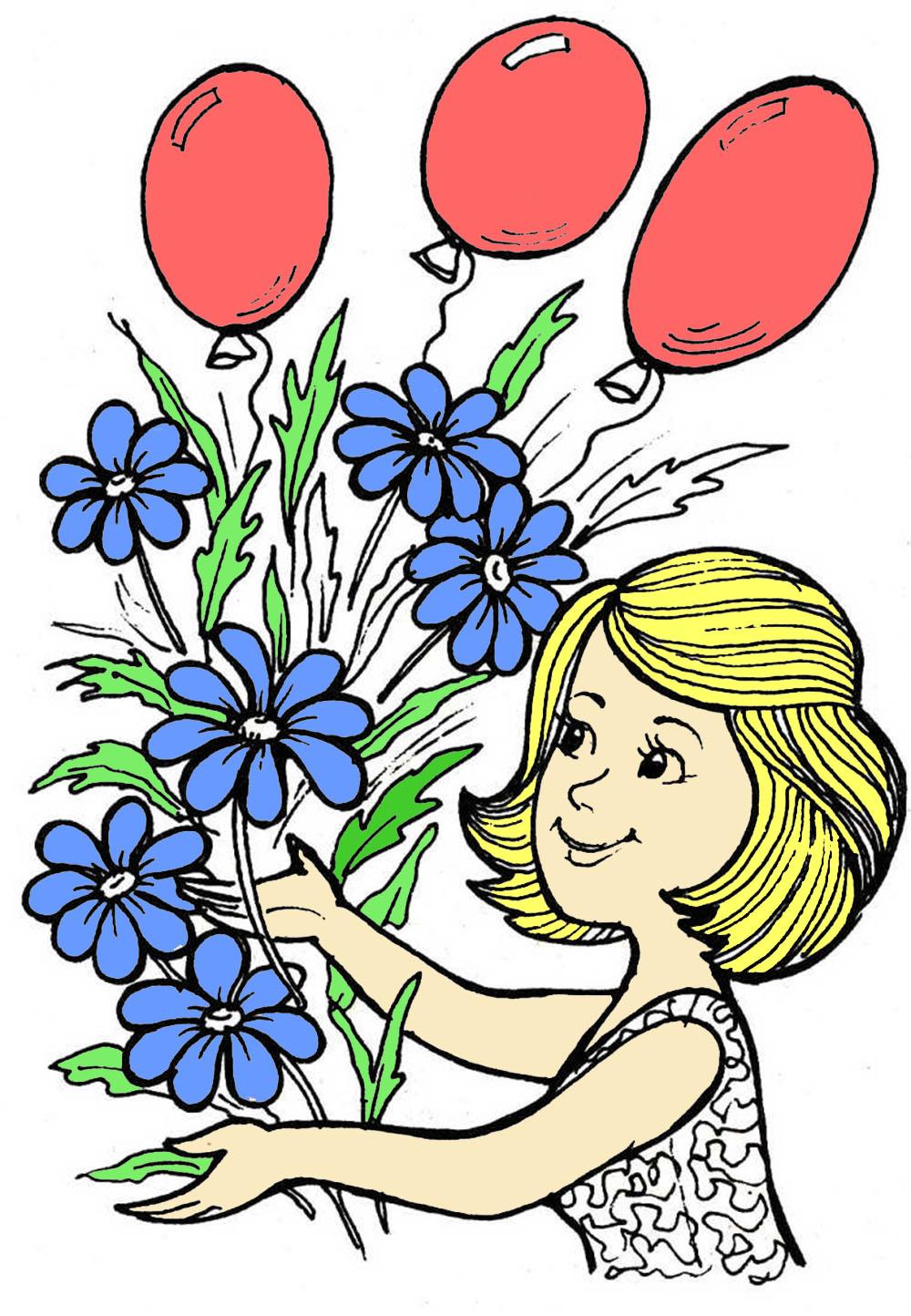Раскраска на 8 марта для детей: цветы, восьмерка ...