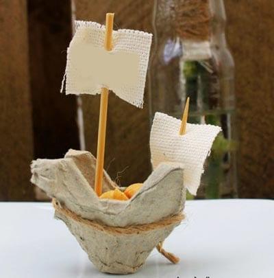 Кораблик из картонной ячейки